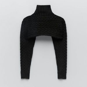 Zara cable knit sleeve scarf warmers.